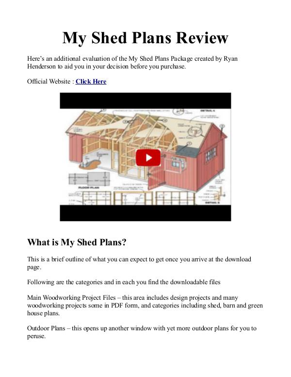 My Shed Plans PDF / Reviews RyanShedPlans - 12,000 Shed Plans with Woodworking