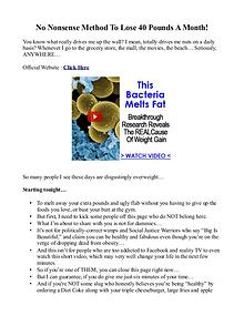 No Nonsense Fat Melting System PDF / eBook