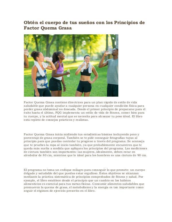 Factor quema grasa pdf gratis Obtén el cuerpo de tus sueños con los Principios d