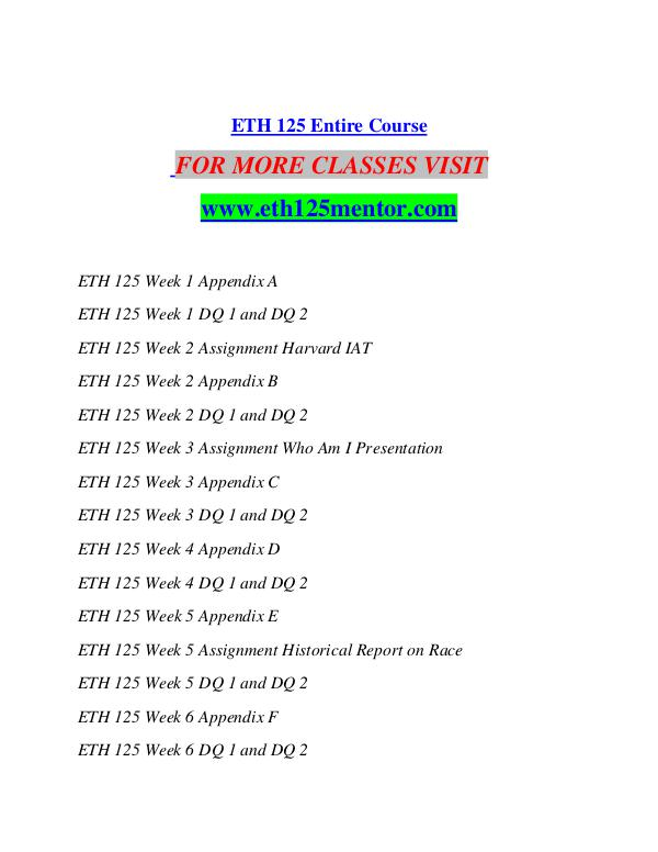 ETH 125 MENTOR Motivated Minds/eth125mentor.com ETH 125 MENTOR Motivated Minds/eth125mentor.com