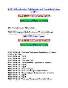 BSHS 305 MASTER Think Big /bshs305master.com