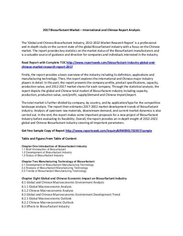 Reports Markets Biosurfactant Market Report 2017 Trends