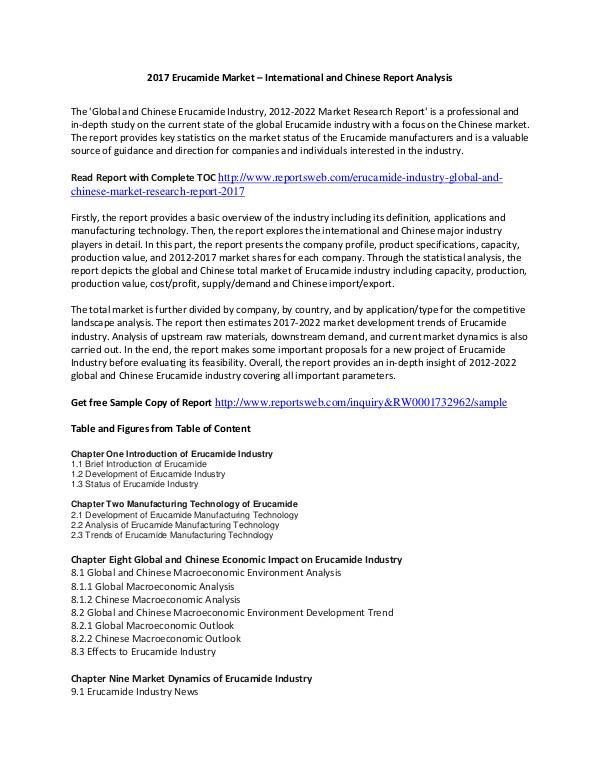 Reports Market Erucamide Market Report 2017 Trends