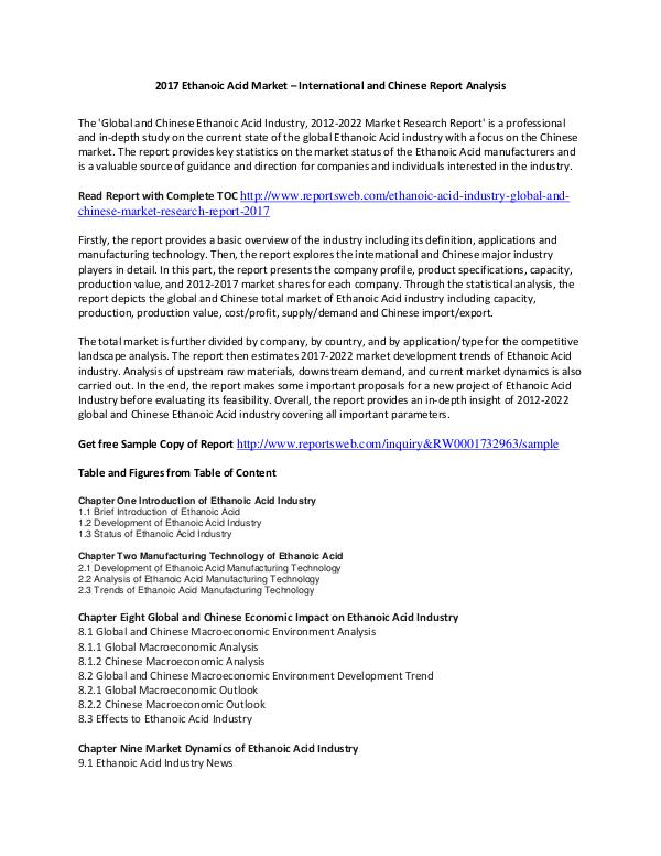 Reports Ethanoic Acid Market Report 2017 Trends