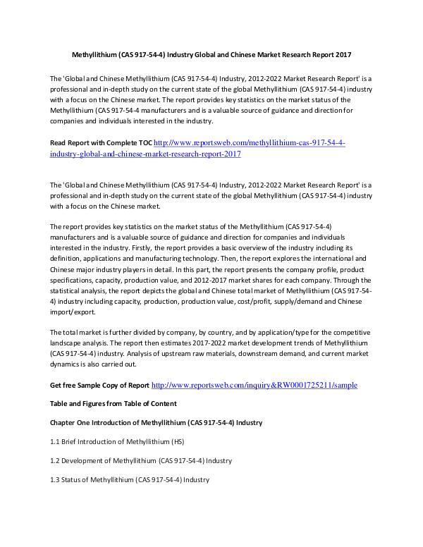 Market Research Study 2017 Methyllithium Market – International