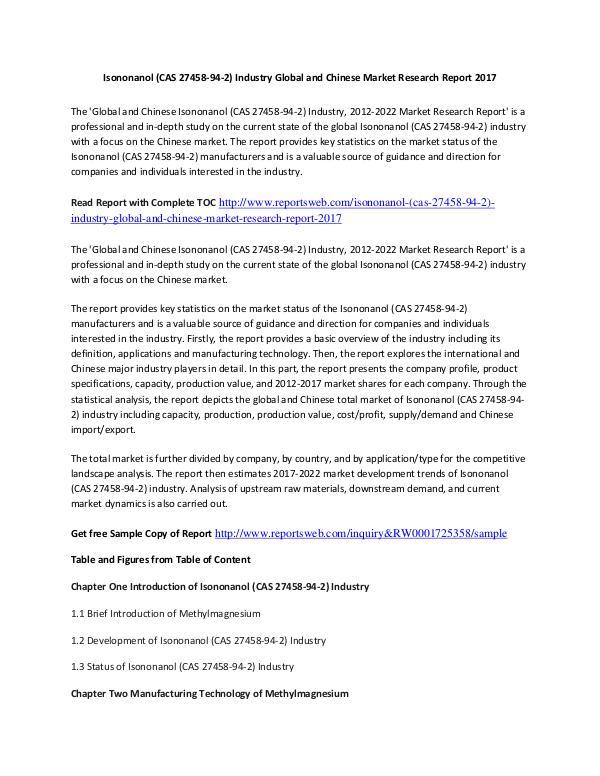 Market Research Study 2017 Isononanol Market International Report