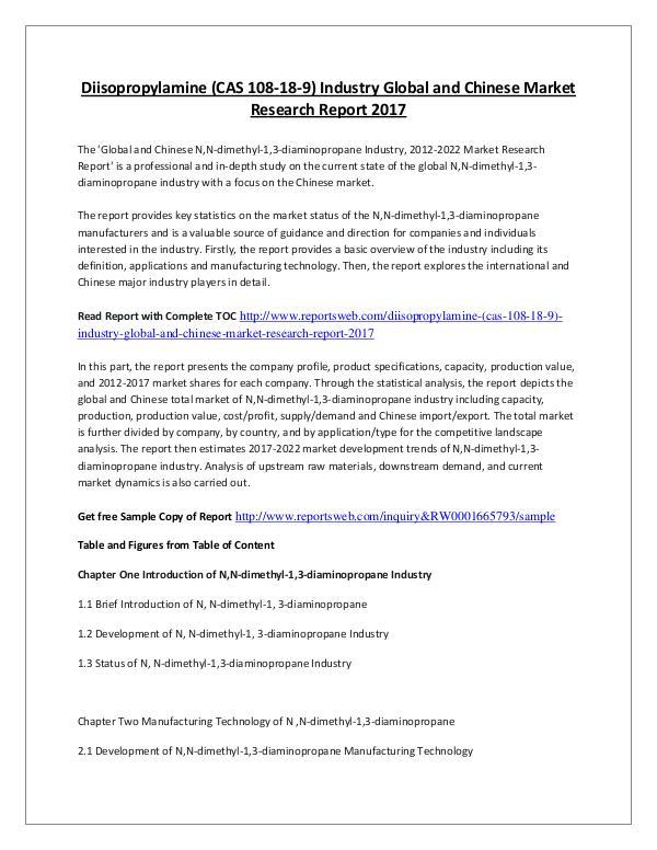 Market Research Study 2017 Diisopropylamine Market – International