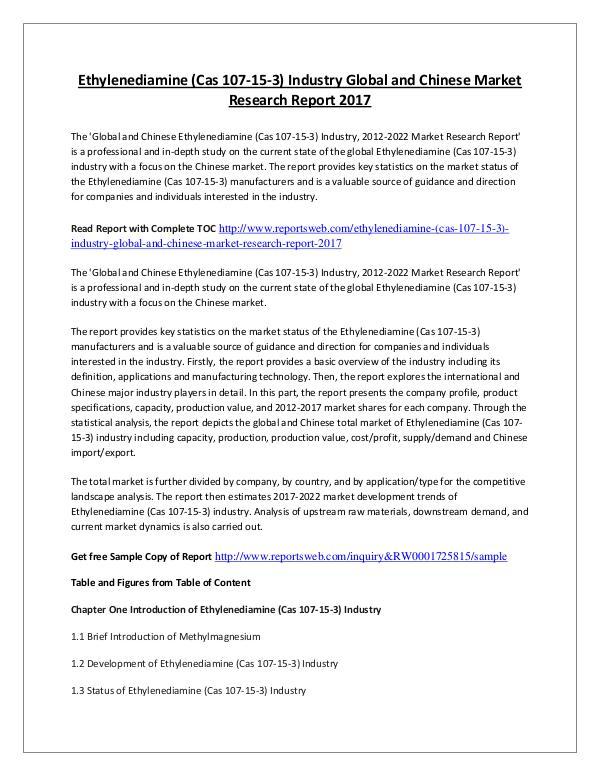 Market Research Study Worldwide and China Ethylenediamine Market Report
