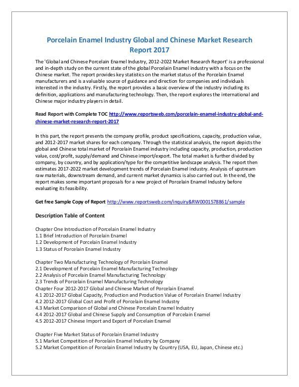 Market Research Study Global Porcelain Enamel Market by Classifications,