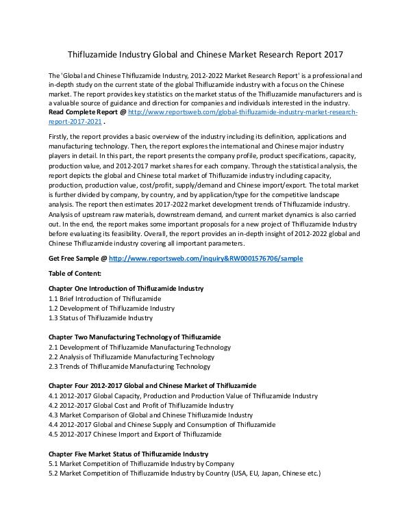 Market Research Study Thifluzamide Industry Key Manufacturer, Analysis