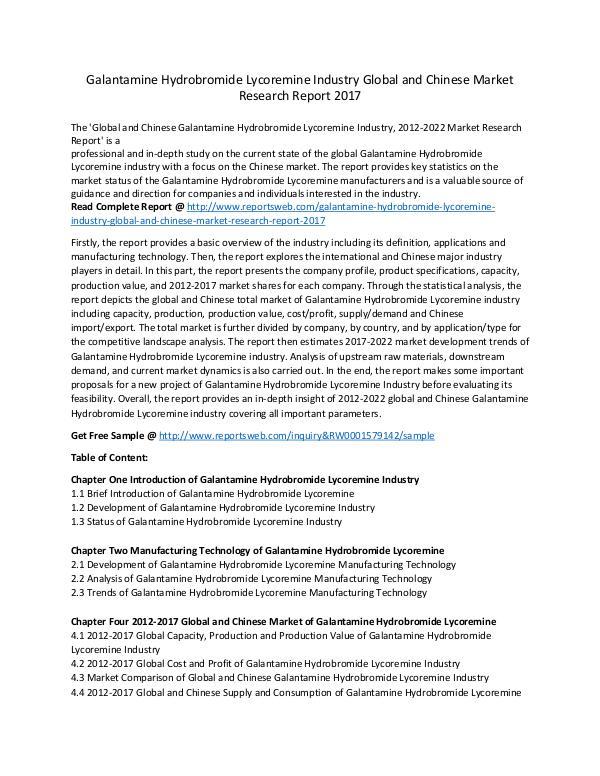 Market Research Study Galantamine Hydrobromide Lycoremine Industry