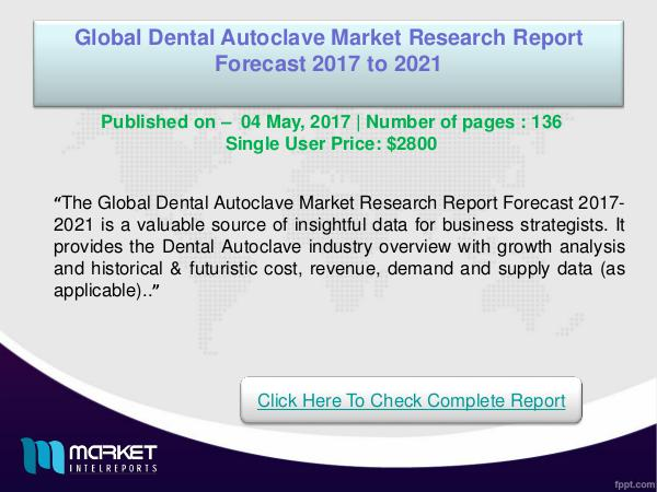 My first Magazine Dental Autoclave Market Overview | Forecast-2021