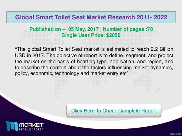 Global Smart Toilet Seat Market forecast to 2022 R