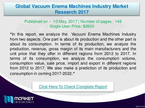 My first Magazine Global Vacuum Enema Machines Industry-2017