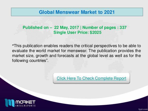 Global Menswear Market Analysis 2021- Latest Trend
