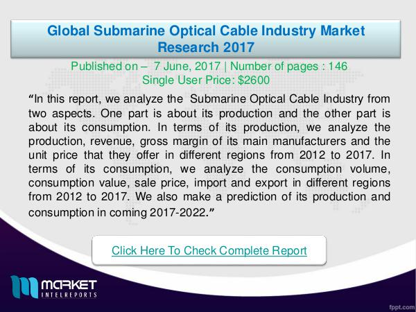 Global Submarine Optical Cable Industry Analysis