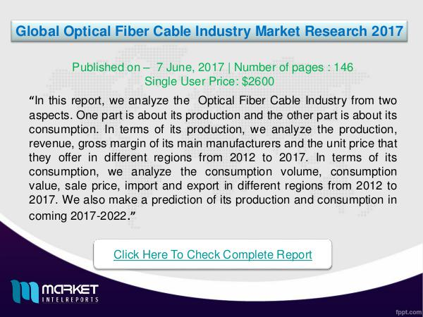 My first Magazine Global Optical Fiber Cable Industry Analysis