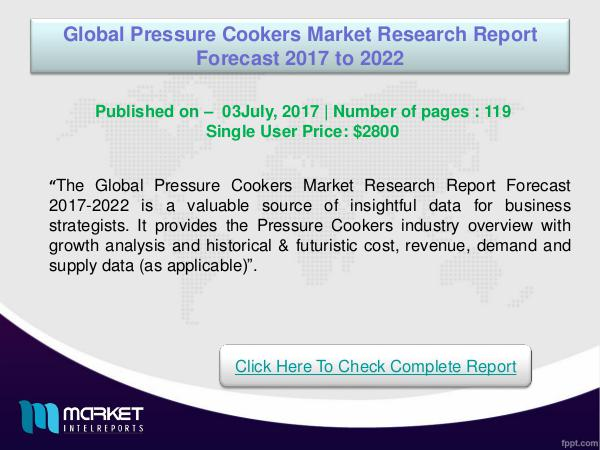 Global Pressure Cookers Market Analysis 2017