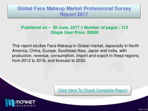 Global Face Makeup Market Analysis 2017- Latest