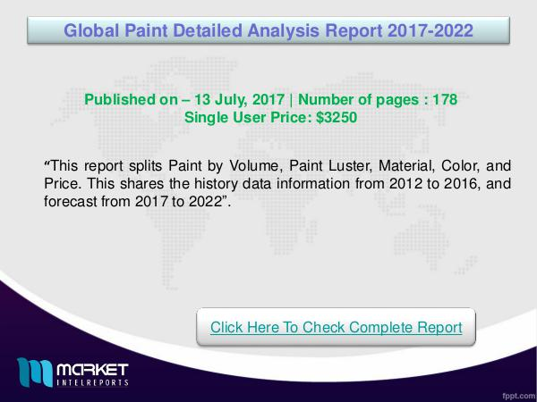 Global Paint Detailed Analysis Market Overview2022