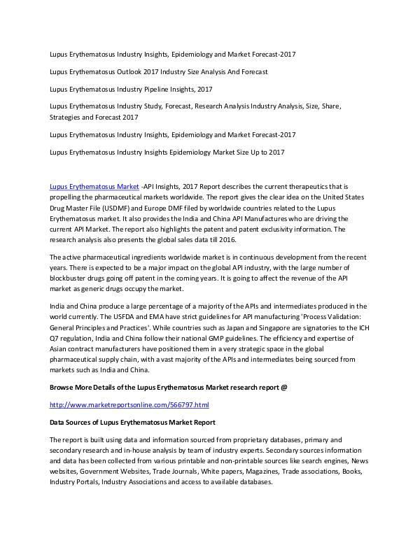 Insomnia Market Study, Forecast, Research analysis up to 2023 Lupus Erythematosus Market