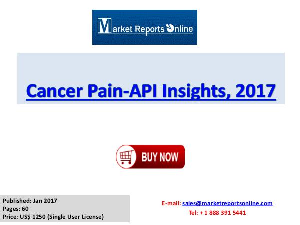 Cancer Pain Market Size, Share, Industry Analysis, 2017 Strategies Cancer Pain-API Insights, 2017