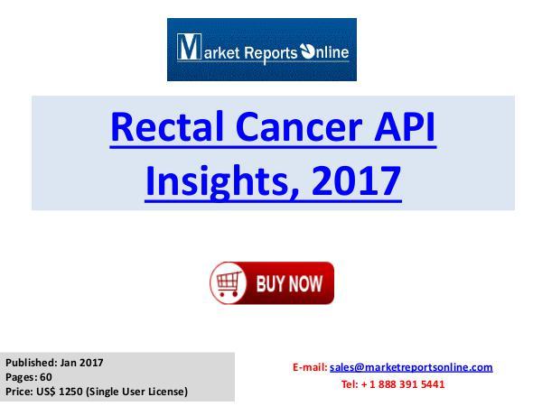 Rectal Cancer API Market Insights 2017 Rectal Cancer API Insights, 2017