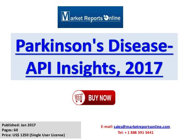 Global Parkinson's Disease API Market Overview Report 2017 Parkinson's Disease-API Insights, 2017