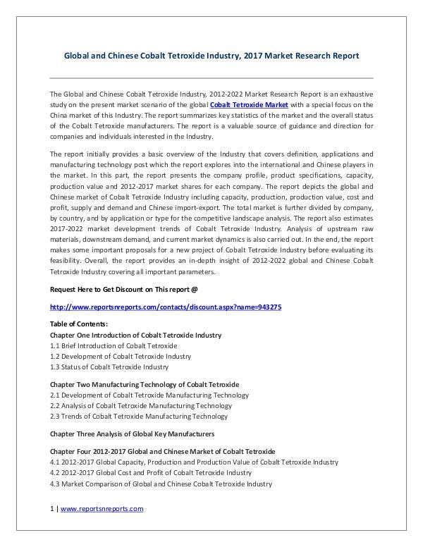 Cobalt Tetroxide Industry Global Market Trends, Share, Size and 2022 Cobalt Tetroxide Industry