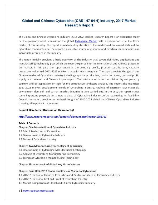Cytarabine Market Global and Chinese Cytarabine (CAS 147-94-4) Indus
