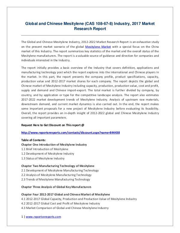 Global and Chinese Mesitylene (CAS 108-67-8) Industry, 2017 Market Global and Chinese Mesitylene (CAS 108-67-8) Indus