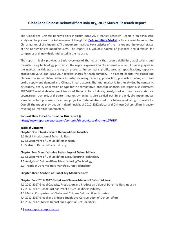 Global and Chinese Dehumidifiers Industry 2017 Global and Chinese Dehumidifiers Industry, 2017 Ma