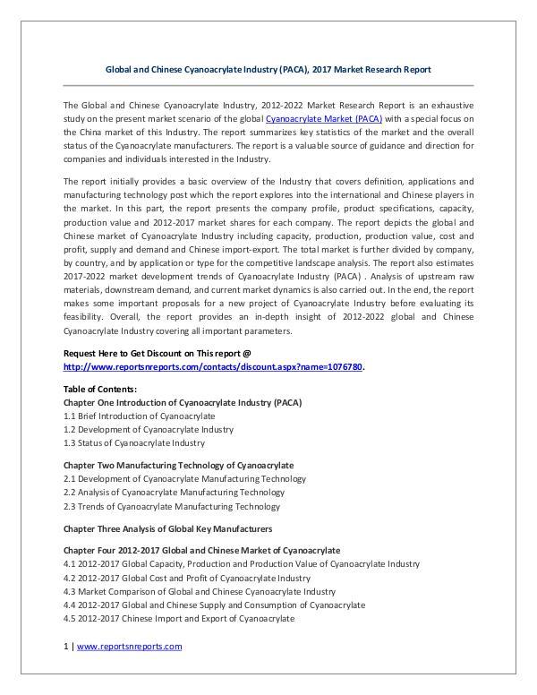 Global and Chinese Cyanoacrylate Industry (PACA) Market 2017 Global and Chinese Cyanoacrylate (PACA) 2017 Marke
