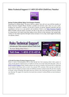 Roku Technical Support - 1-855-213-4314 (Toll-Free) Phone Number