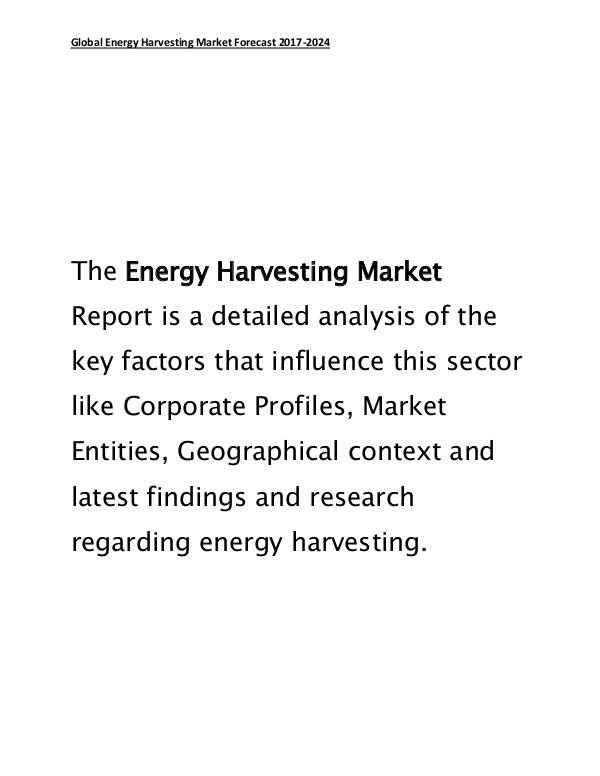Energy Harvesting Market Global Forecast and Industry Trends 2017-24 March 2017