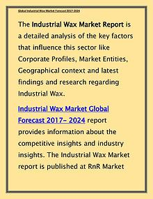 Industrial Wax Market Expected to Grow at CAGR 4.50% by 2024 Report