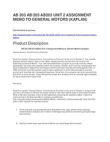 AB 203 AB/203 AB203 UNIT 2 ASSIGNMENT MEMO TO GENERAL MOTORS (KAPLAN)