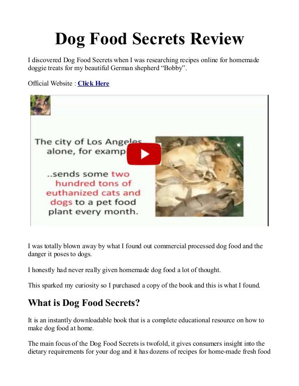 Dog Food Secrets PDF / Book Is Andrew Lewis Top 9 Dog Foods Free Download?