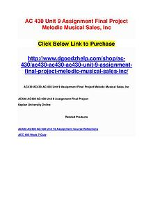 AC 430 Unit 9 Assignment Final Project Melodic Musical Sales, Inc