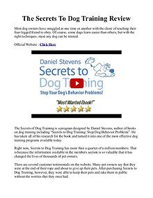 Secrets To Dog Training PDF / Book By Daniel Stevens