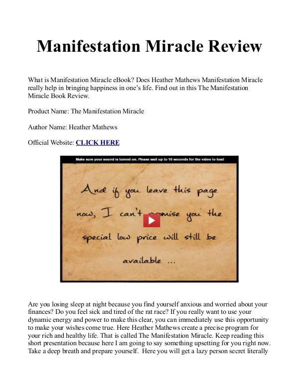 Manifestation Miracle Book / Manual PDF Free Download Is Heather Mathews eBook Work?