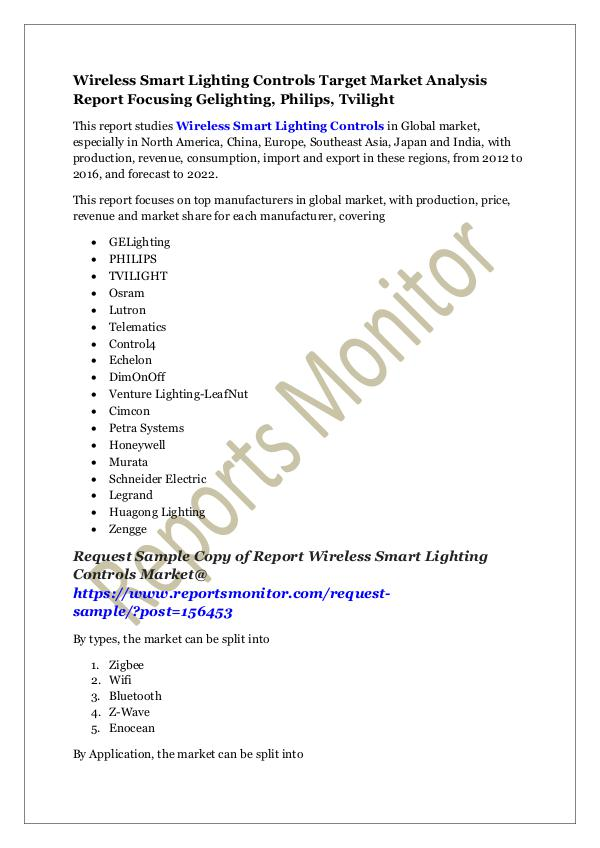 Machinery and Equipments Wireless Smart Lighting Controls Target Market Ana