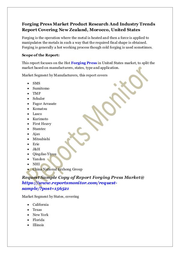 Machinery and Equipments Forging Press Market Product Research Report