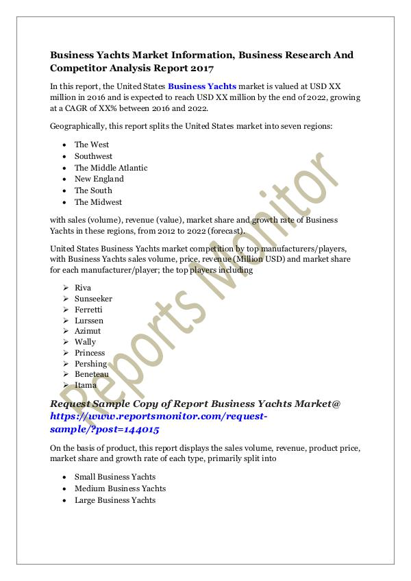 Machinery and Equipments Business Yachts Market Information Report 2017