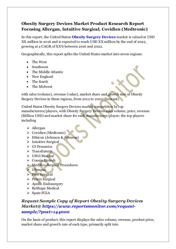 Machinery and Equipments Obesity Surgery Devices Market Product Research Re