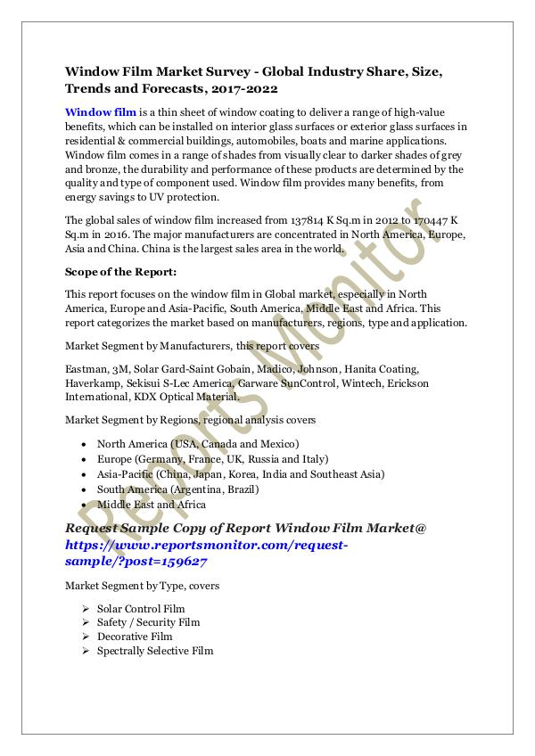 Machinery and Equipments Window Film Market Survey - Global Industry Share,