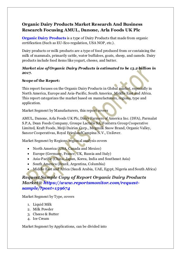 Machinery and Equipments Organic Dairy Products Market Research And Busines