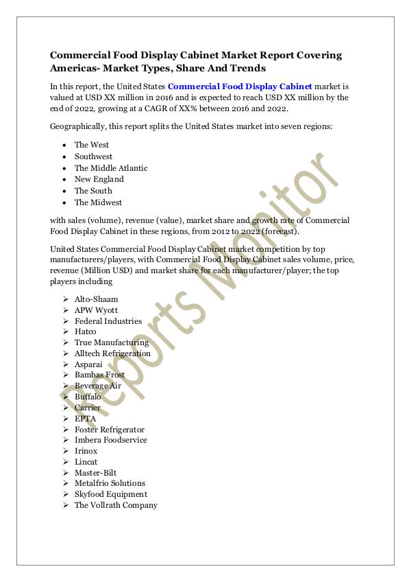 Machinery and Equipments Commercial Food Display Cabinet Market Report Cove