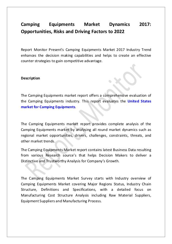 Machinery and Equipments Camping Equipments Market Dynamics 2017- Opportuni