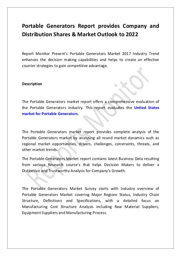 Machinery and Equipments Portable Generators Report provides Company and Di